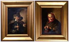 Rembrandt Harmenszoon van Rijn School Portrait Pair