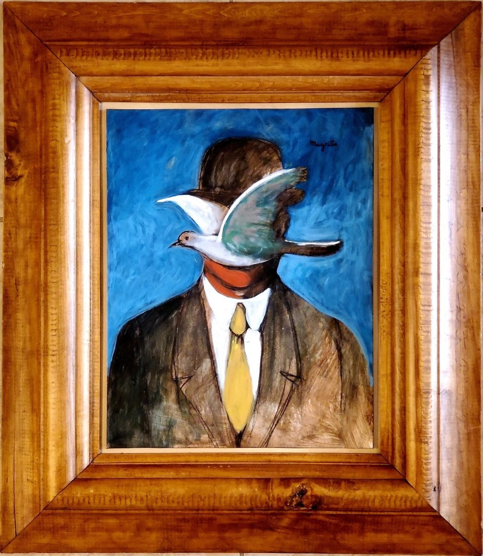 Rene Magritte Oil Hand Painted Surrealist Man Hat Bird
