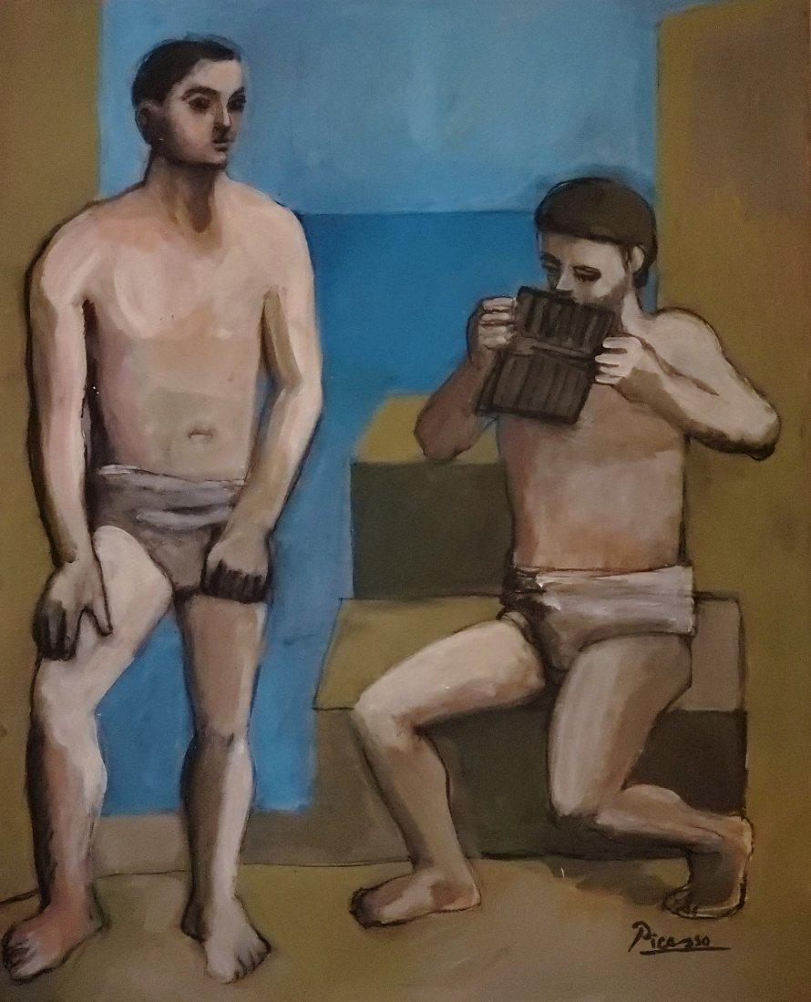 Pablo Picasso Spanish Blue Period Oil Male Landscape