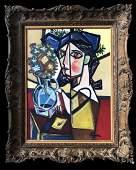 Pablo Picasso Spanish Cubist Women Oil on Canvas