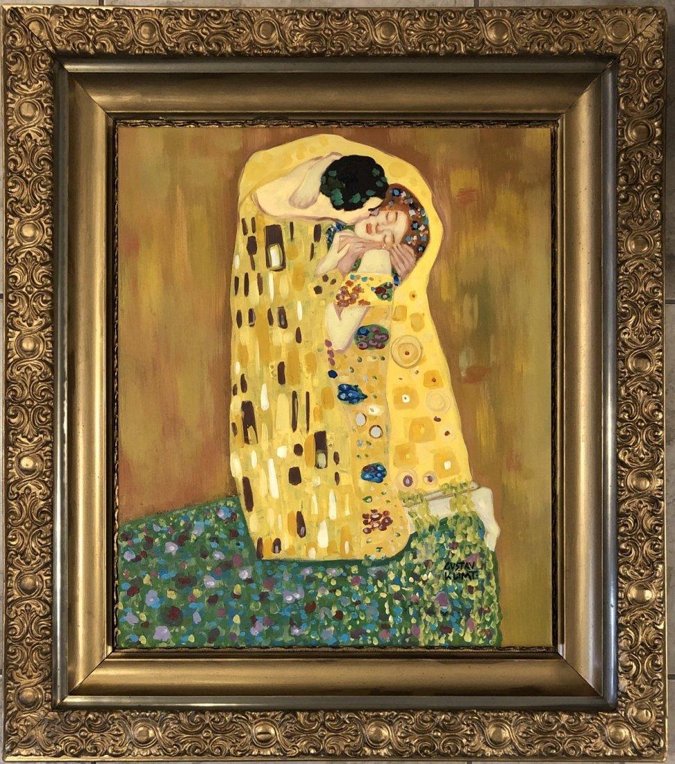 Gustav Klimt Oil on Canvas Austrian Women Man