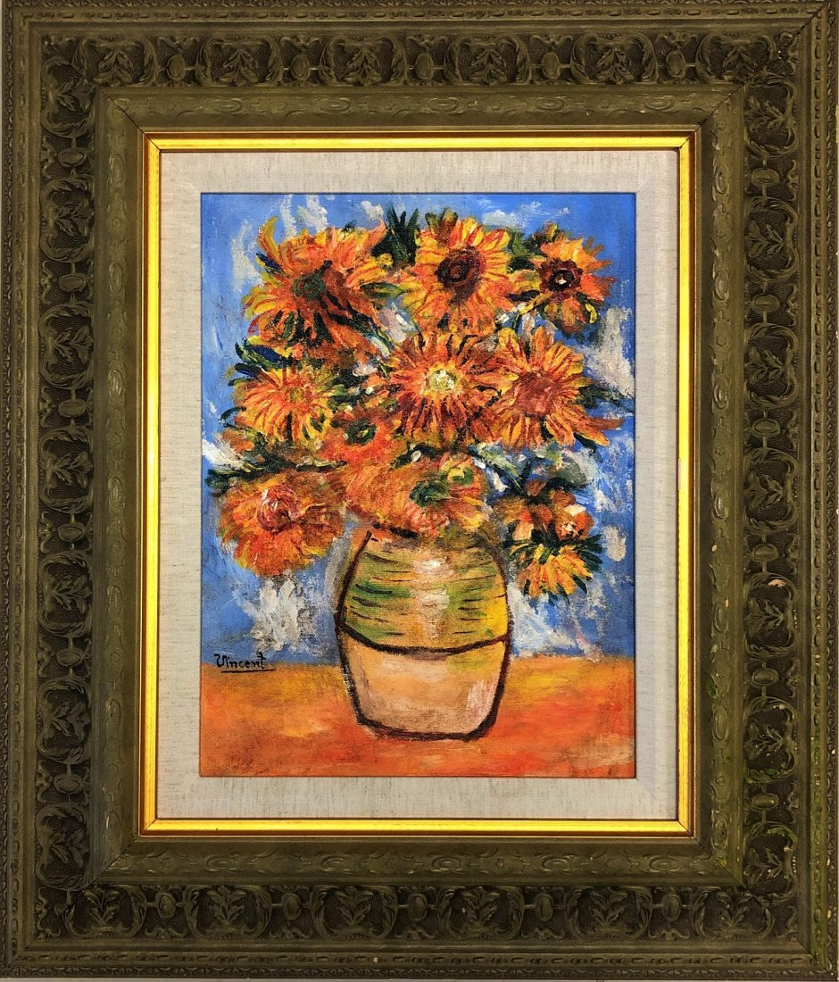 Vincent Van Gogh Oil On Canvas Flowers