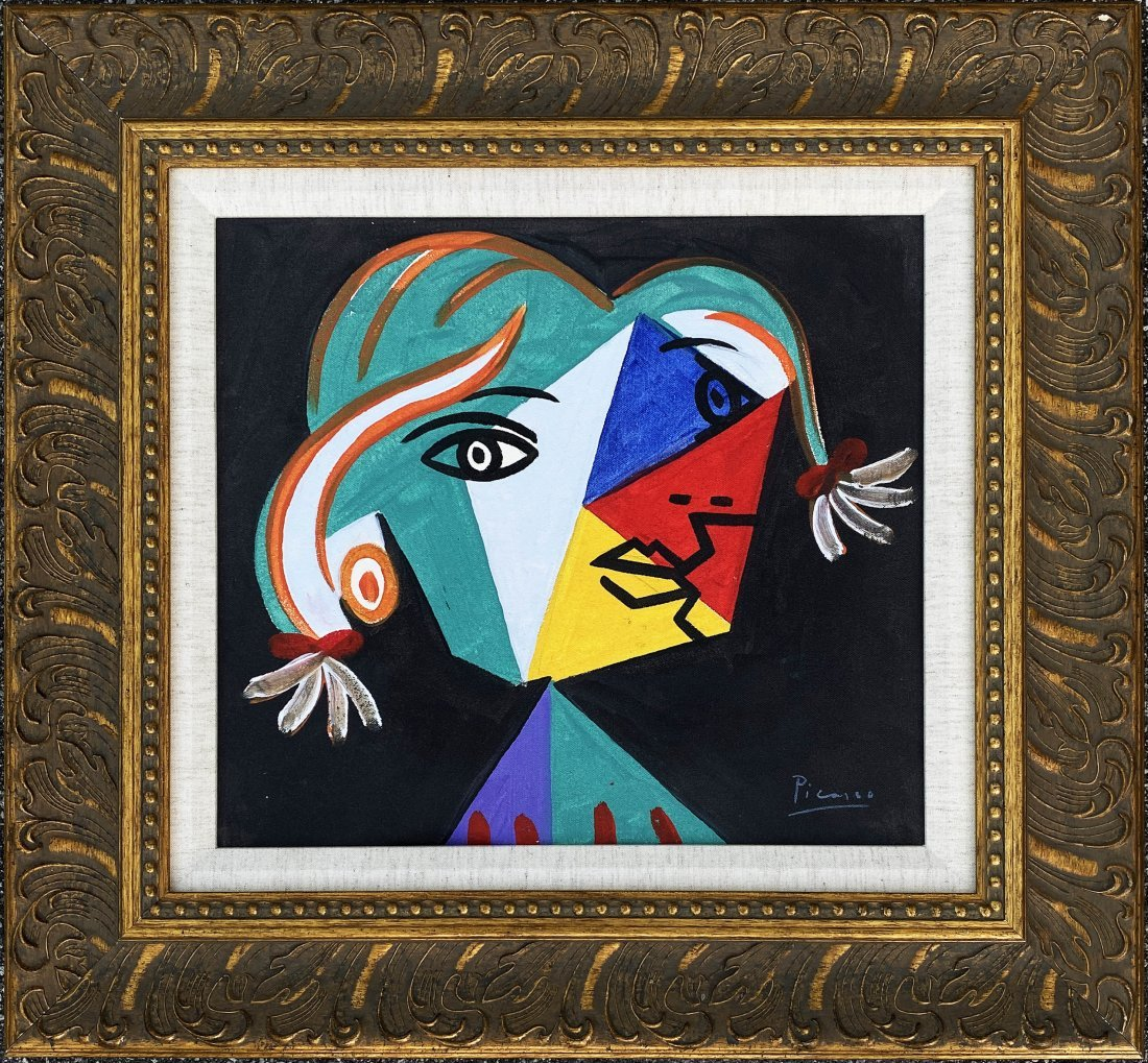 Pablo Picasso Spanish Cubist Figure Oil on Canvas