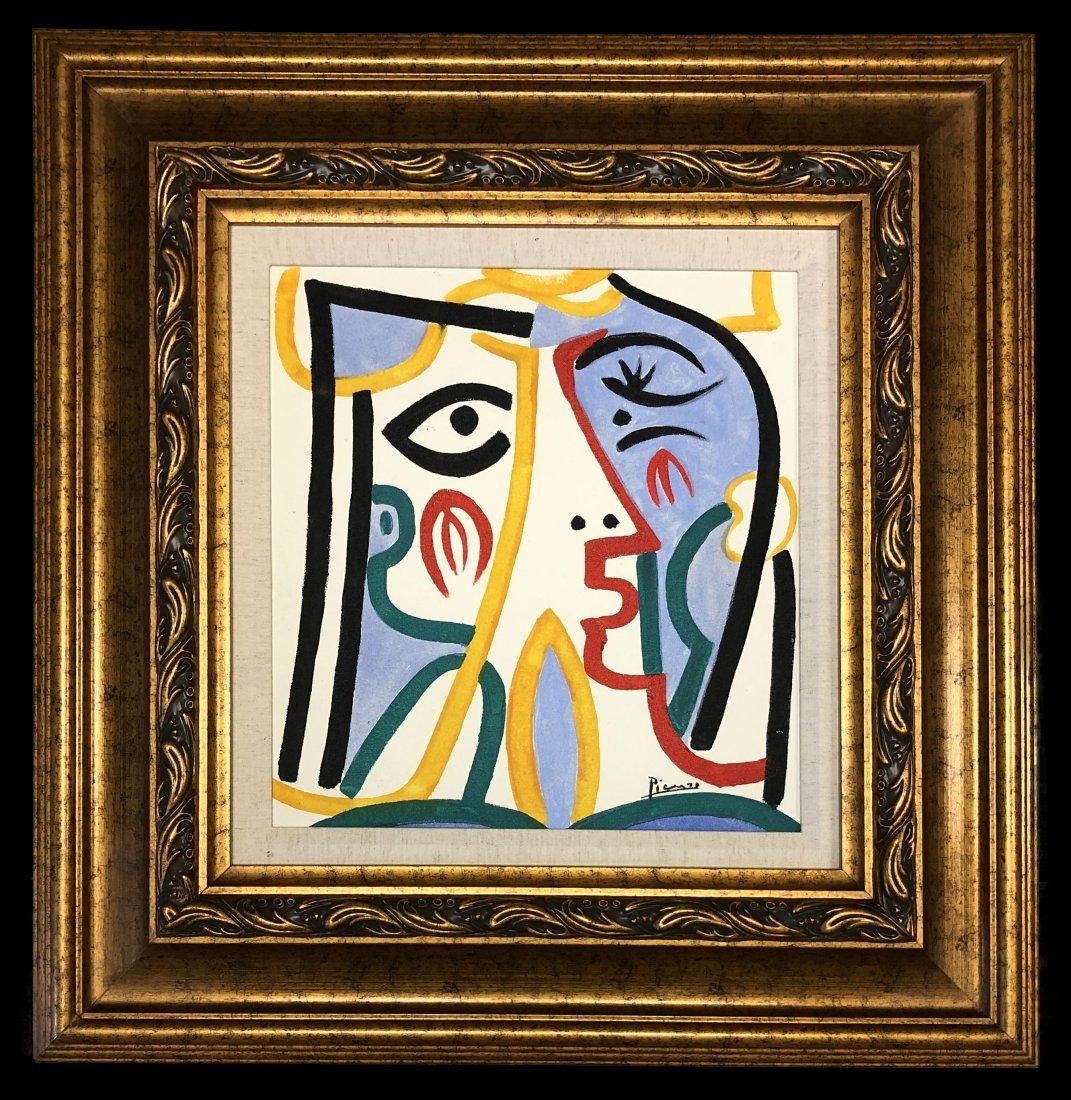 Pablo Picasso Spanish Cubist Figure Mixed Media Canvas