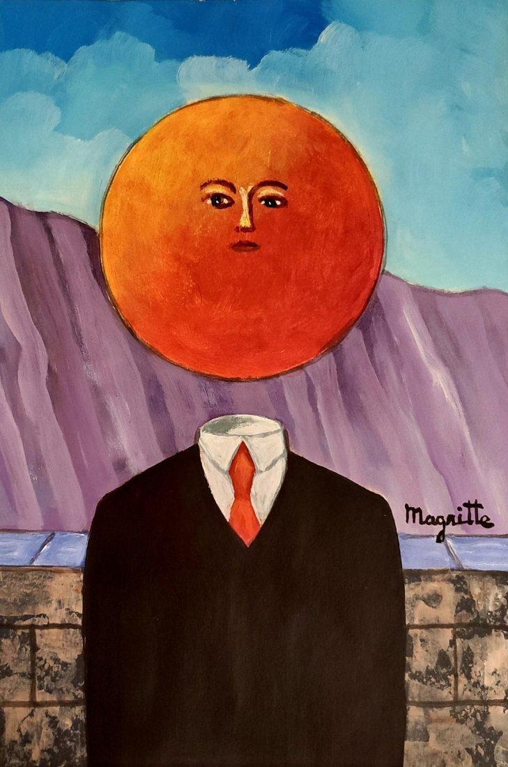 Rene Magritte Man Hat Surrealist Belgian Oil Painting