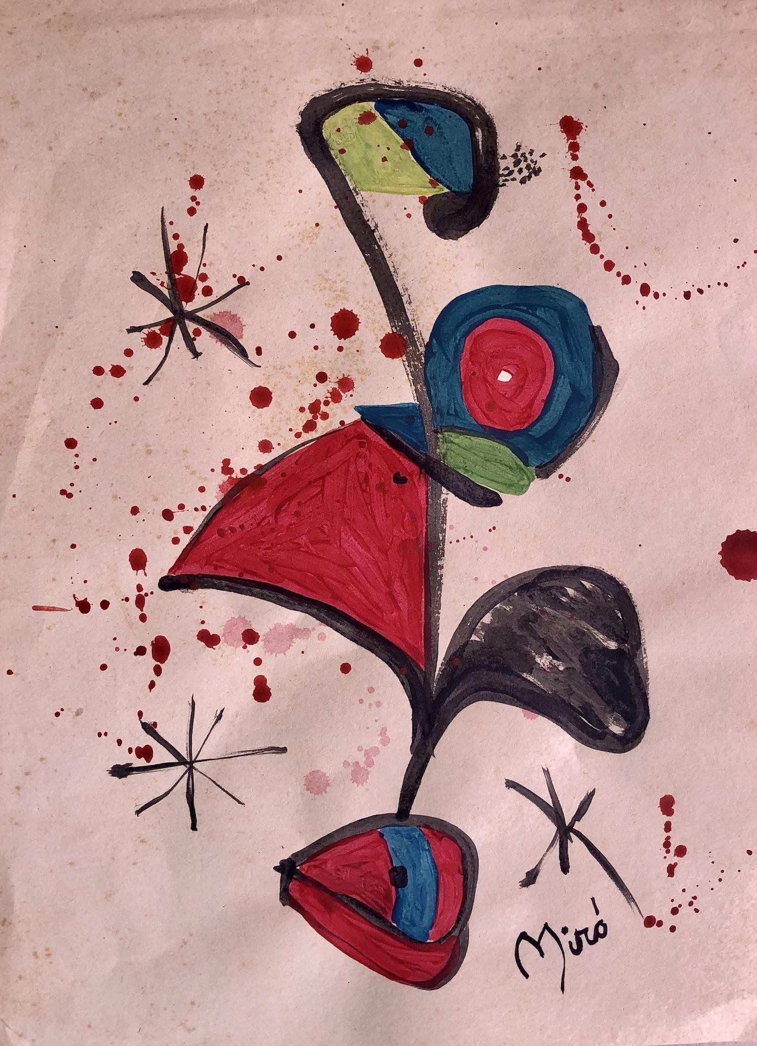 Joan Miro Mixed Media Spanish Abstract(1893-1983)Style
