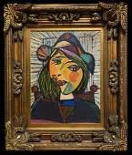 Pablo Picasso Spanish Cubist Women Oil on Canvas Large