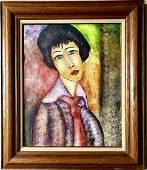 Amadeo Modigliani Italian Female Portrait Oil Canvas