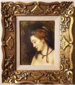 Rembrandt Harmenszoon Van Rijn School Portrait Oil Canv