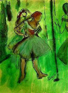 Edgar Degas Drawing French Art Impressionist Ballerina