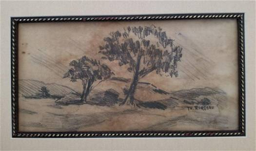 Theodore Rousseau French Landscape Drawing Attributed