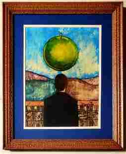 Rene Magritte Surrealist Man Portrat Oil Belgian
