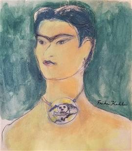Frida Kahlo hand Painted on pape Mexican Art 19071950