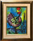Marc Chagall Drawing Painting Cock Rooster Guitar