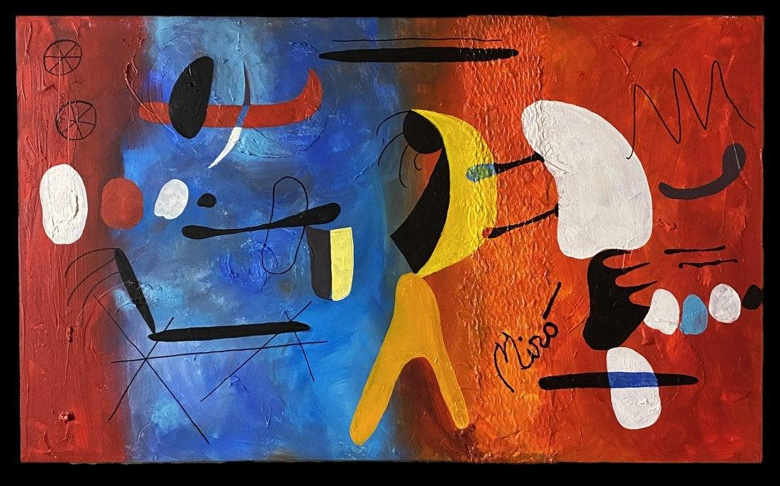 Joan Miro Abstract Spanish Surrealist Oil Canvas