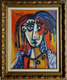 Pablo Picasso Spanish Cubism Female Portrait Oil Canvas
