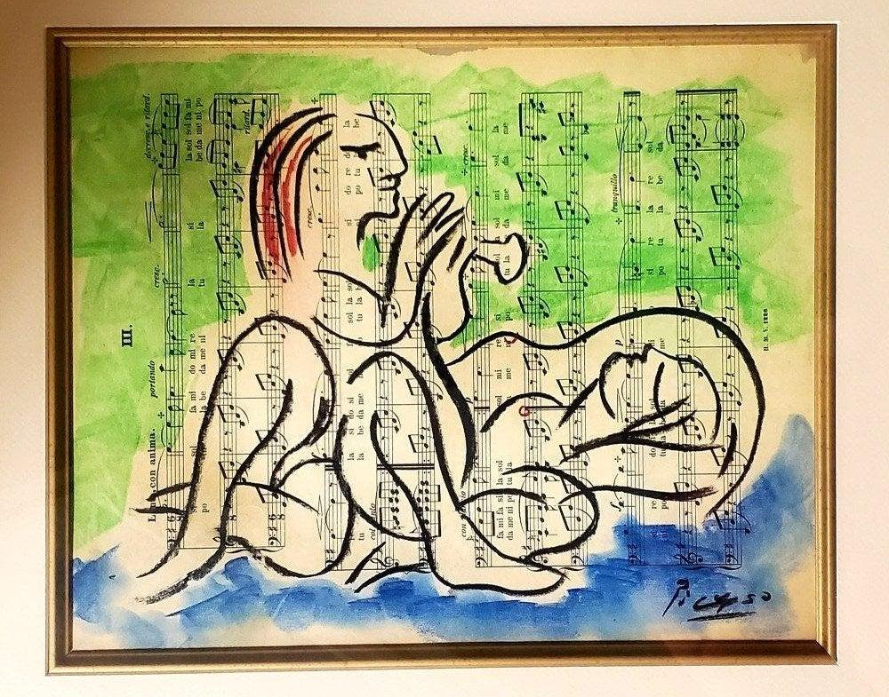 Pablo Picasso Drawing Spanish Cubism Women Females