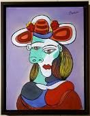 Pablo Picasso Cubist Female Women French Spanish Oil C.