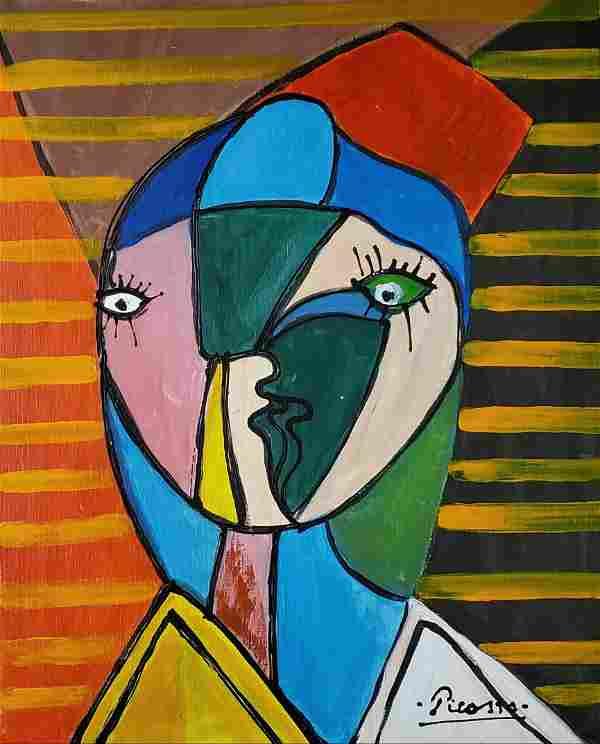 Pablo Picasso Oil Canvas Spanish Cubist Female Portrait