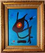 Joan Miro Spanish Surrealist Abstract Oil Canvas Framed