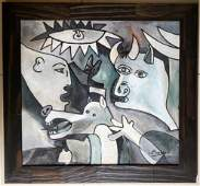 Pablo Picasso Cubism Oil Canvas Bull Horses Abstract