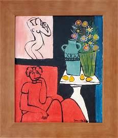 Henri Matisse Oil on Canvas Female Still Life Interior