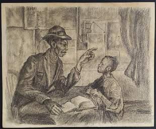 Thomas Hart Benton Drawing Graphite Portrait Child Fath