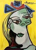 Pablo Picasso Cubist Portrait Female Abstract Colorful