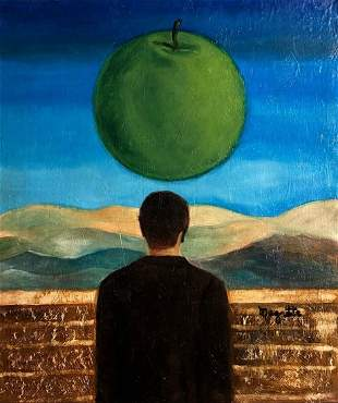 Rene Magritte Surrealist Belgian Landscape Male Oil can