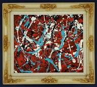 Jackson Pollock Abstract Expressionism Oil - Style of