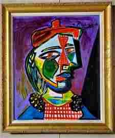 Pablo Picasso Cubist Oil on Canvas Female Women Spanish