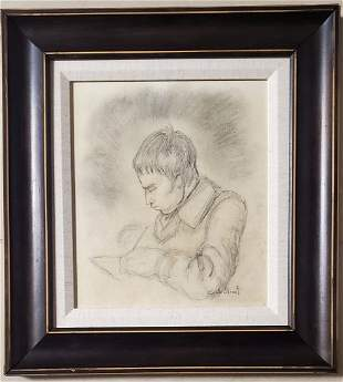 Claude Monet Drawing Male Portrait French Impressionist