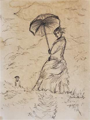 Claude Monet Female Madame French impressionist Drawing