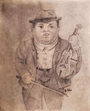 Fernando Botero Drawing Musician Violinist Portrait Art