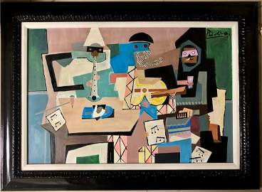 Pablo Picasso Spanish Cubism Abstract Musicians Oil