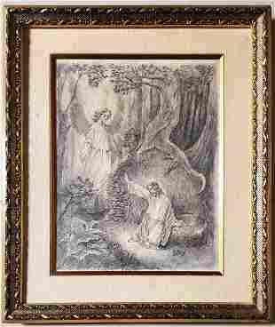 Gustave Dore Drawing Jesus Landscape Women Religious