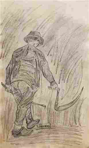 Vincent Van Gogh Drawing Farmer Dutch Impressionist Art