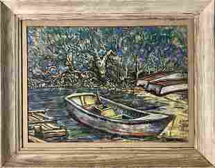 Vincent Van Gogh Landscape Boat Impressionist Painting