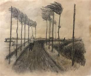 Vincent Van Gogh Drawing Landscape Dutch Farmer