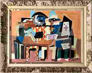 Pablo Picasso Spanish Cubism Musicians Oil Canvas