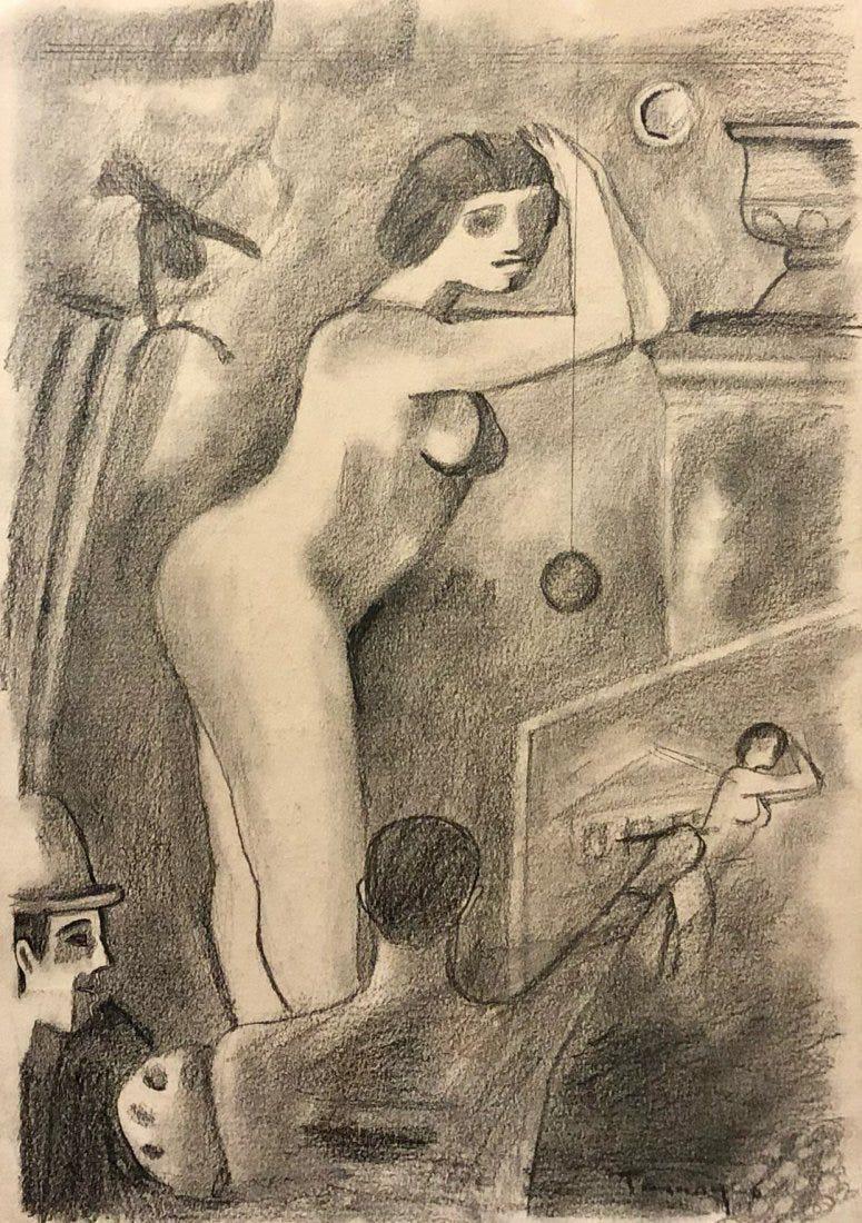 Rufino Tamayo Drawing Female Nude Mexican Art Graphite