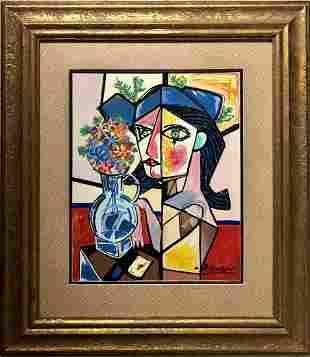 Pablo Picasso Cubism Cubist Spanish Female Oil Painting