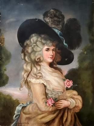 Thomas Gainsborough Canvas After Portrait Lady Female
