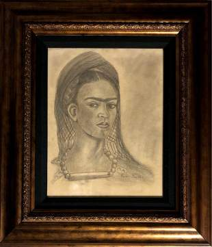 Frida Kahlo Self Portrait Mexican Drawing Naive Folk