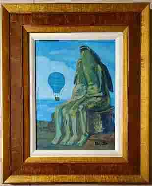 Rene Magritte Surrealist Landscape Fish Man Women Oil C