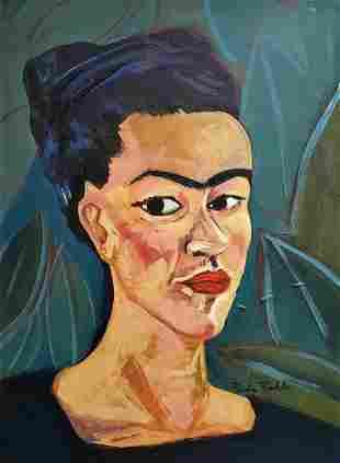 Frida Kahlo Self Portrait Mexican Female Portrait Naive