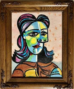 Pablo Picasso Spanish Cubism.Female Oil Canvas