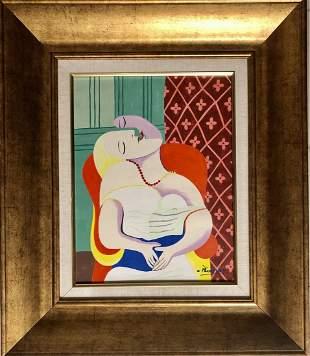 Pablo Picasso Spanish Cubist Female Oil on board Art