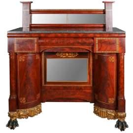Antique Meeks Co. Classical Empire Mahogany Sideboard
