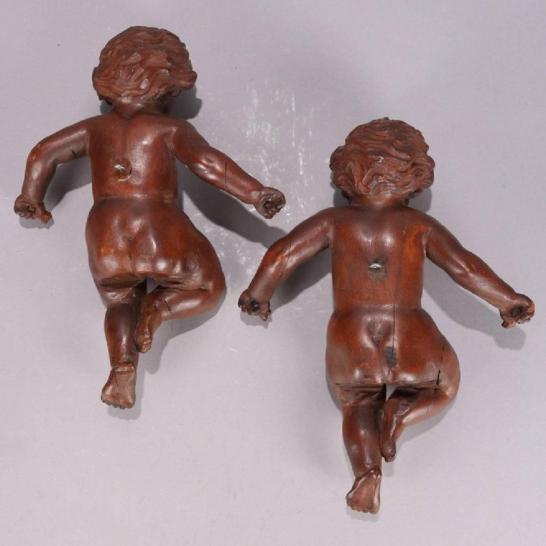 2 Large Italian Carved Walnut Figural Wall Sculptures - 2